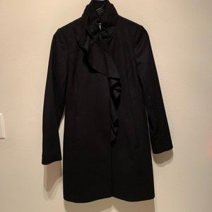 DKNY black wool long coat size 2P